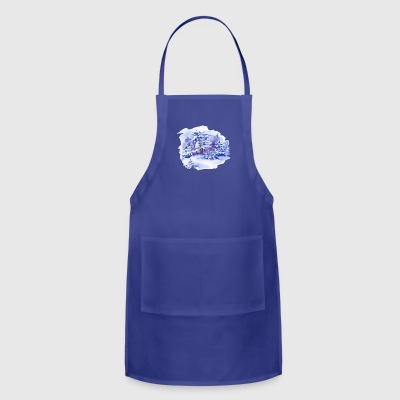 winter-landscape-drawing-painting-watercolor - Adjustable Apron