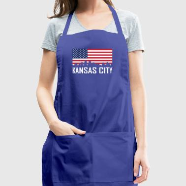 Kansas City Kansas Skyline American Flag - Adjustable Apron
