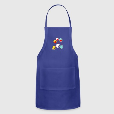 White,Yellow and Turquous elephants - Adjustable Apron