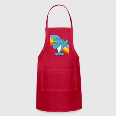 Retro Vintage Pop Art Style Dabbing Dab Narwhal - Adjustable Apron