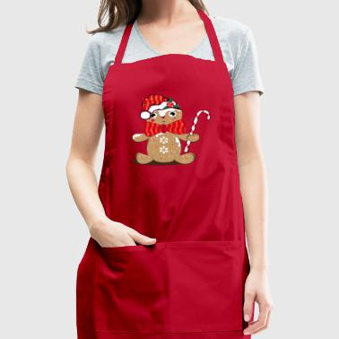funny gingerbread man with candy cane - Adjustable Apron