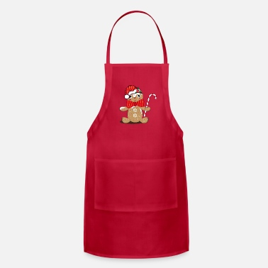 Man funny gingerbread man with candy cane - Adjustable Apron