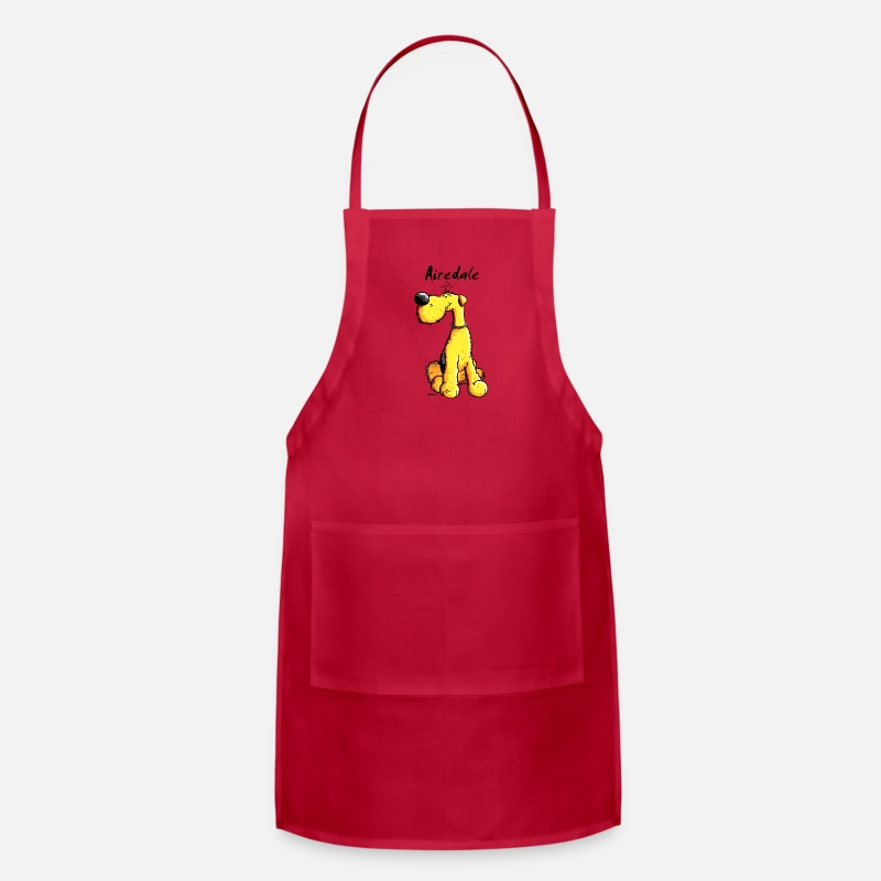 Terrier Aprons - Cute Airedale Terrier Cartoon - Apron red