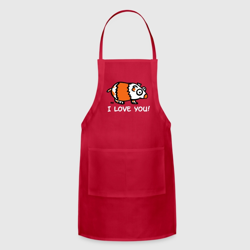 Guinea Pig Hamster I love you Couple Cupid Fun - Adjustable Apron