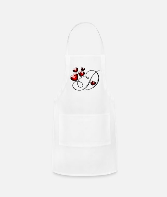 Red Aprons - LETTER D WITH RED HEARTS - Apron white