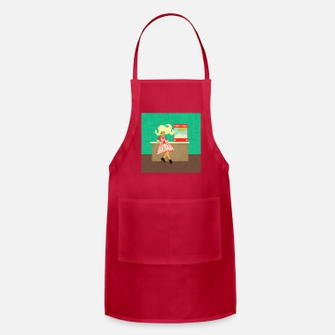 Movie Time! Woman Popcorn Vendor with Popcorn Mach - Apron