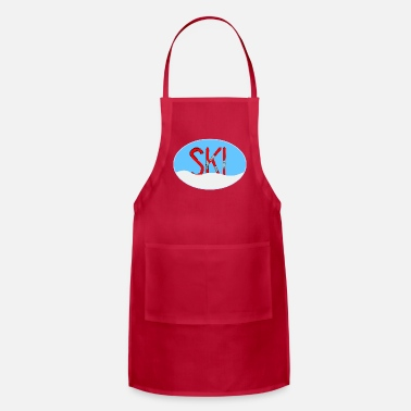 Cross Ski Red Skis Snow In Oval - Adjustable Apron