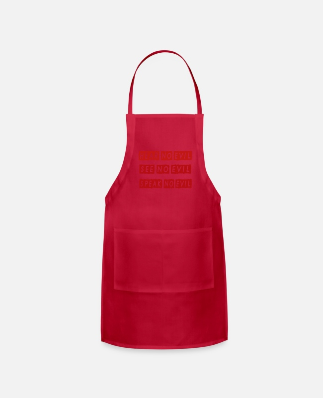 Quote Aprons - NO EVIL - Apron red