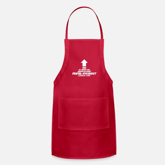Dental Aprons - Dental Hygienist - Apron red