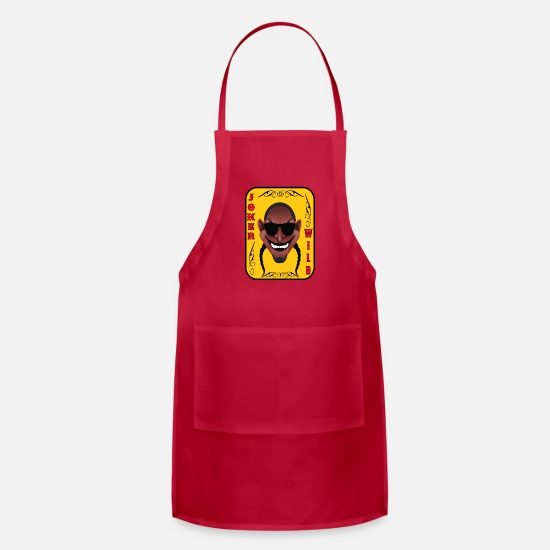 Wild Aprons - The Lucky Contestant Joker Is Wild Player Shirt - Apron red