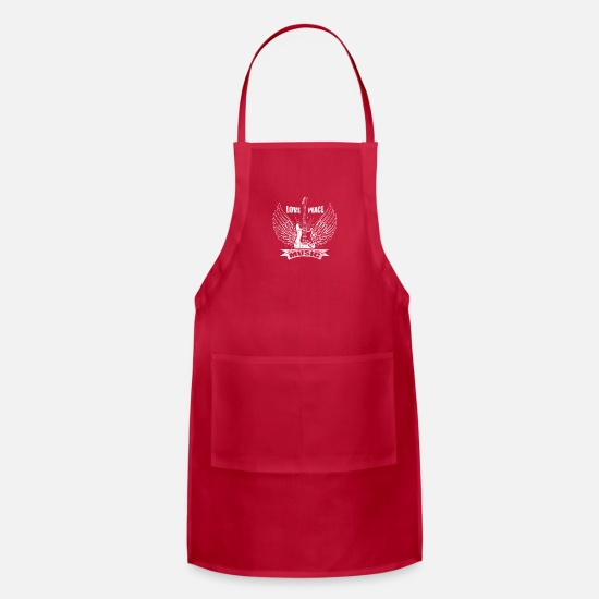 Electronic Music Aprons - Love Peace Music Electronic Guitar - Apron red
