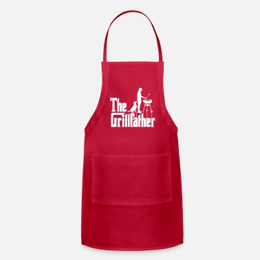 Mens The Grillfather Funny BBQ Grilling graphic - Apron