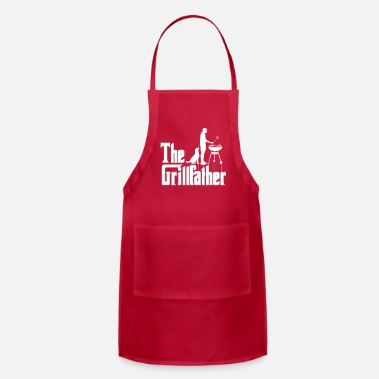 For Him Aprons - Mens The Grillfather Funny BBQ Grilling graphic - Apron red