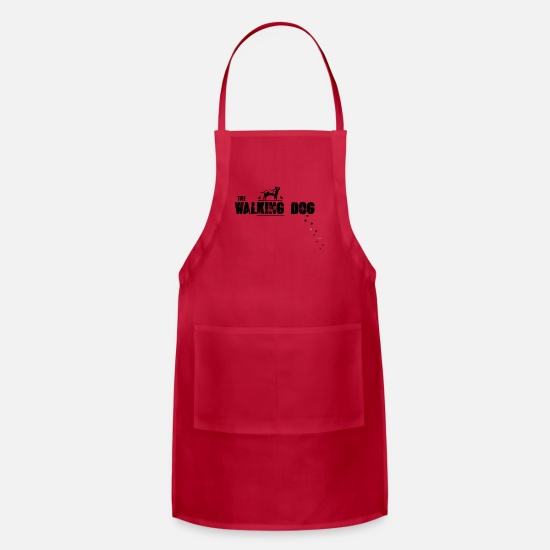 Dog Paw Aprons - The walking dog - paws black - Apron red