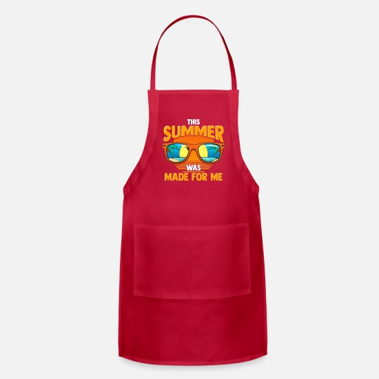 Gift Idea Aprons - Summer Vacation Sunglasses Retro Style 80's Beach - Apron red
