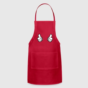 Cartoon Hands, Thumbs - T-Shirt - pointing - Adjustable Apron