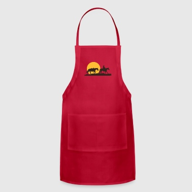 Lone Cowboy Rancher Riding Horses Western American - Adjustable Apron