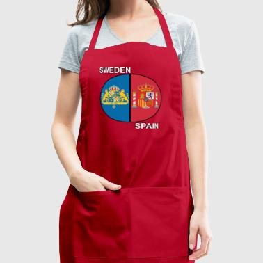 spain sweden crest text - Adjustable Apron