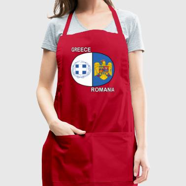 Romanian Greek Dual National Emblem Pride - Adjustable Apron