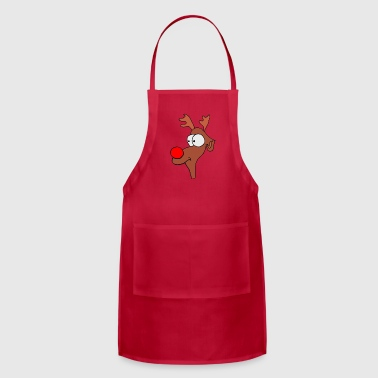 Reindeer Christmas XMAS with red Nose - Adjustable Apron