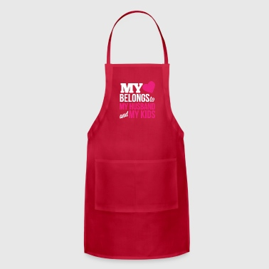 MY HEART BELONGS TO MY HUSBAND AND MY KIDS - Adjustable Apron