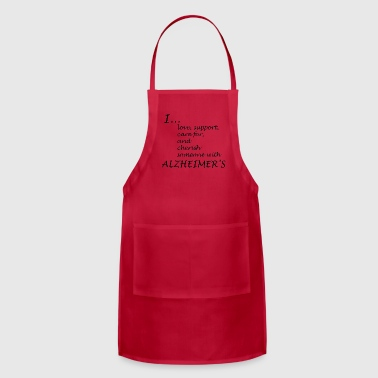 I love someone w/ Alzheimers-Black lettering logo - Adjustable Apron