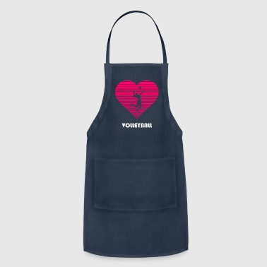 Volleyball girl woman lady hear love - Adjustable Apron