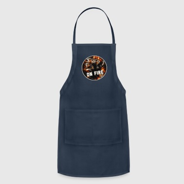 Boss Football Team Art Graphic with Hot Youth Helmet & Jersey Gear on Black - Adjustable Apron
