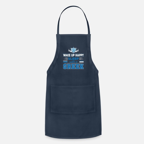 Women Aprons - Wake Up Happy Sleep With A Greek - Apron navy