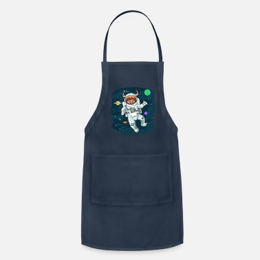 Horns Scottish Highland Cow Space Cow Bull Breeder Gift - Apron