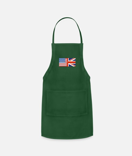 Nottingham Aprons - Half Uk Half USA Flags - Apron forest green