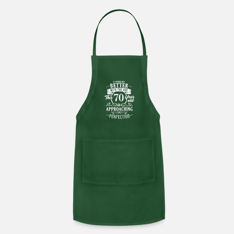 Birthday Aprons - Funny 70th Birthday Design - Apron forest green