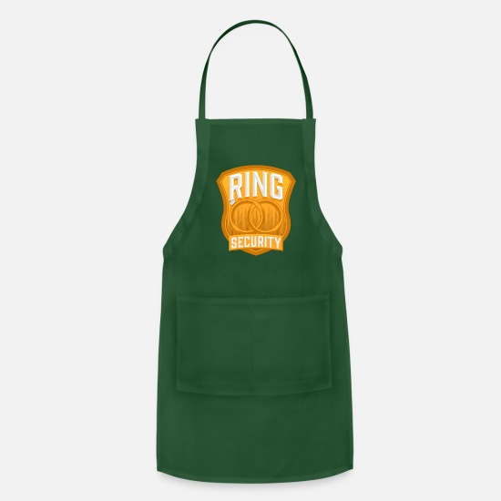 Bride Aprons - Ring Security Wedding - Apron forest green