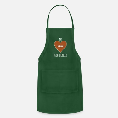 Football Field My Heart Is On The Field Football T-Shirt for Moms - Apron