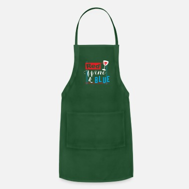 Drinks 4th July Red Wine (white) Blue - Funny USA Flag - Apron
