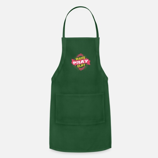 Proud Aprons - Wake Pray Slay - Apron forest green
