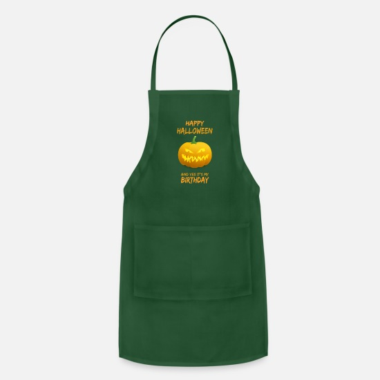 Happy Aprons - Happy Halloween and Yes It's My Birthday - Apron forest green