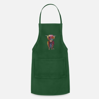Cow Scottish Highland Cow By Shirley MacArthur - Adjustable Apron
