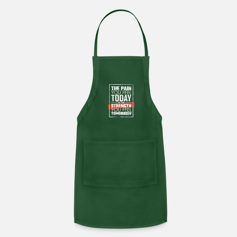 Quotes Aprons - Motivational Quote strength - Apron forest green