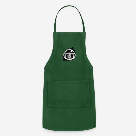 Monkeys Aprons - Space monkey Black and white Art - Apron forest green