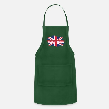British Flag Never Give In UK Flag Classic Churchill Phrase Tee - Adjustable Apron