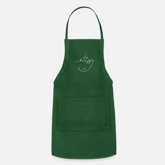 Happy Holidays Aprons - Be Happy - Apron forest green