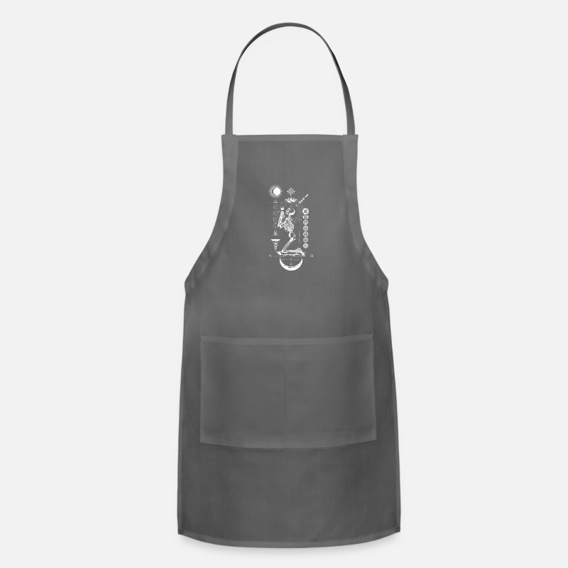 BLACK SUN Praying Skeleton Occult Geometry T Shi Adjustable Apron - charcoal