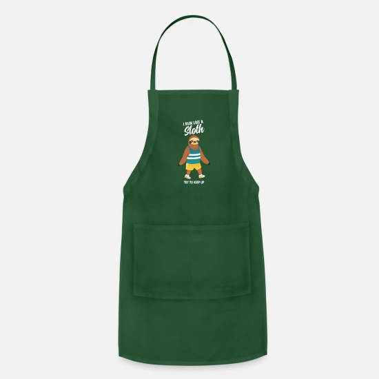 Funny Aprons - Funny I run like a sloth running design - Apron forest green
