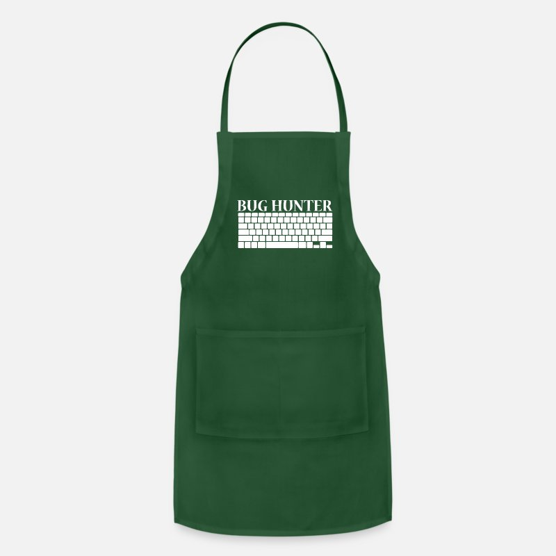 Computer Art Aprons - Bug Hunter Fehler Ja ger Bit Byte Computer weiss - Apron forest green