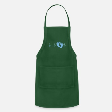 Feet Baby Feet Heartbeat Love Blue Boy Parents Gift - Apron