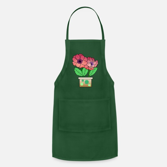 Floral Aprons - Anemone flower in pot - Apron forest green