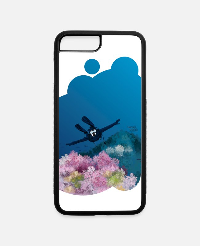 Snorkling iPhone Cases - Scuba diver and coral reef - iPhone 7 & 8 Plus Case white/black