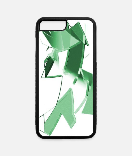 Nano iPhone Cases - Green twisted shapes or crooked triangles - iPhone 7 & 8 Plus Case white/black