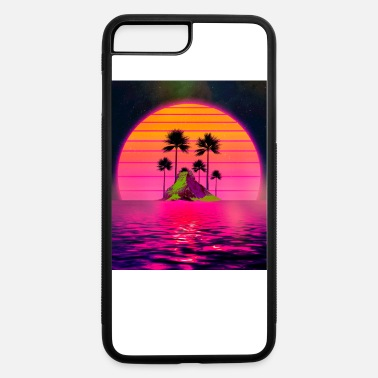 Hipster Synthwave Retro 80s Sunset Beach Island with - iPhone 7 & 8 Plus Case